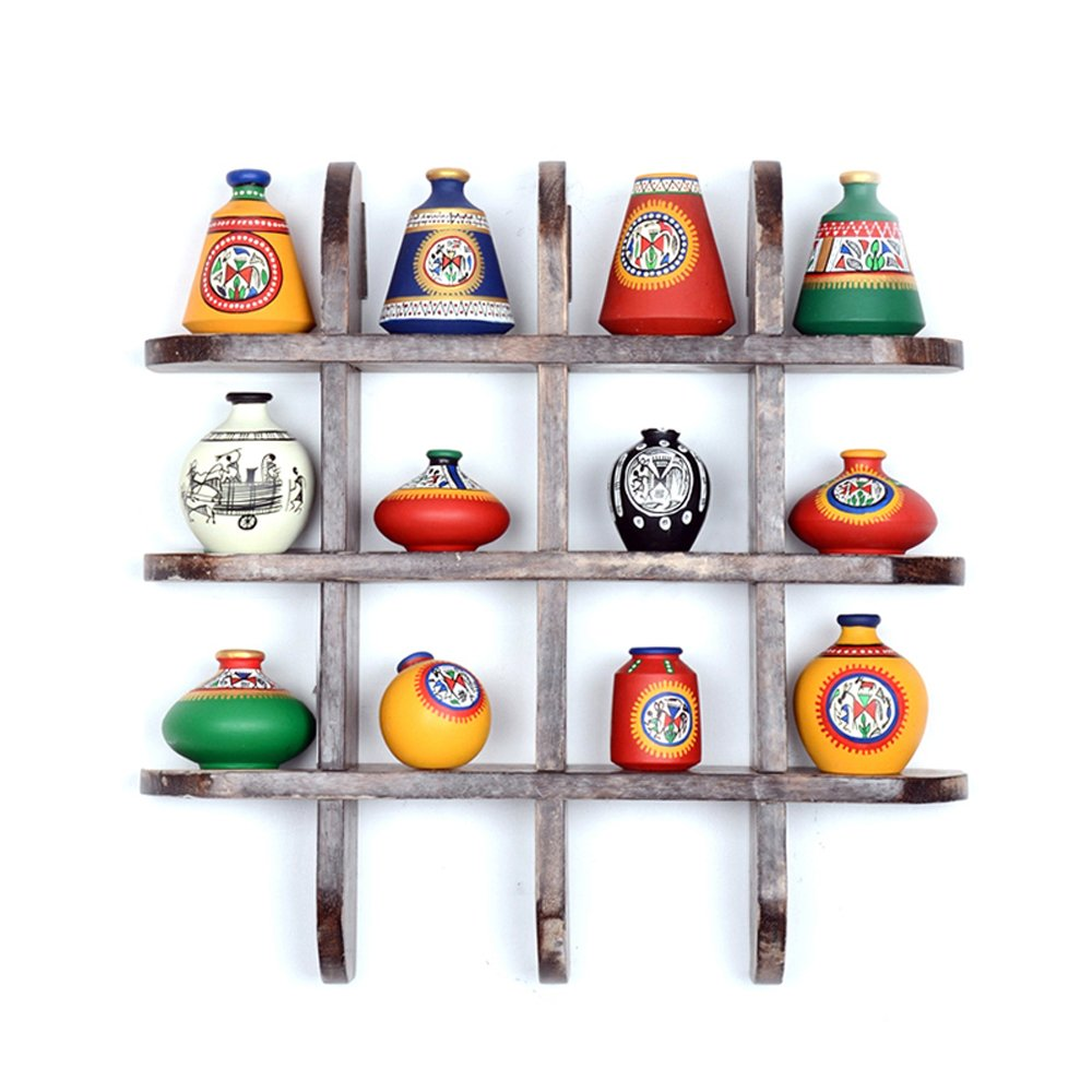 ExclusiveLane 12 Terracotta Warli Handpainted Pots With Antique Wooden Frame Wall Hanging