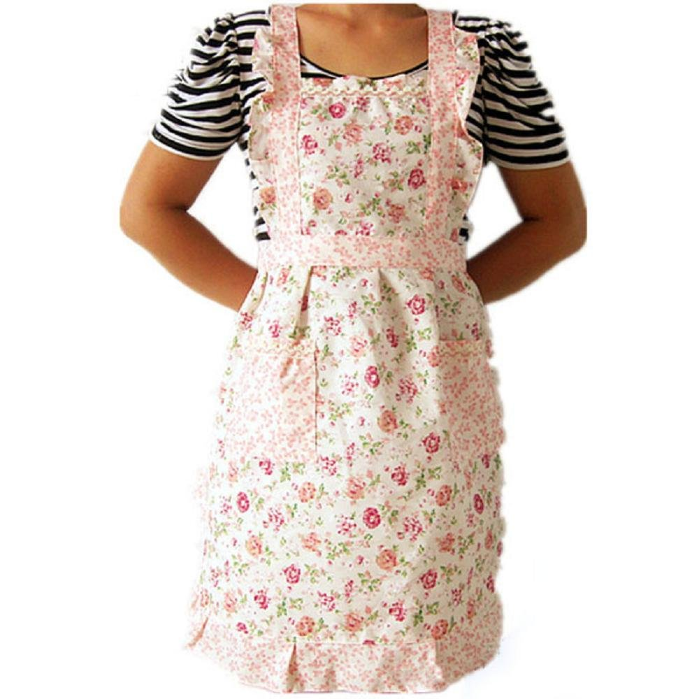 Amaone Apron, Women Aprons Small Floral Flower Print Bib Home Kitchen BBQ Baking Cooking Restaurant For Chefs Adult Adjustable Straps With 2 Pockets Pink