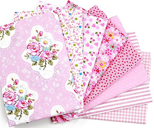 Worldcom Generic Cotton Fabric Quilt Fabric Fat Quarter Bundle Pink Floral Pattern Sewing Handmade Textile Fabric Material Color Pink 40cmx50cm