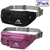ANT EXPEDITION Fanny Pack Slim Waist Pack Polyester Black Hip Bum Bag for Men Women Outdoors Workout Traveling Casual Running Hiking Cycling Carrying iPhone 8 Samsung S6