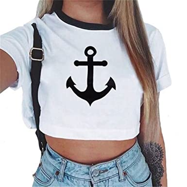 Camisetas Cortas Manga Corta Mujer Camiseta de Rayas Camisas de Mujer  Estampadas Camisetas de Tirantes Anchas b5fa58039591b