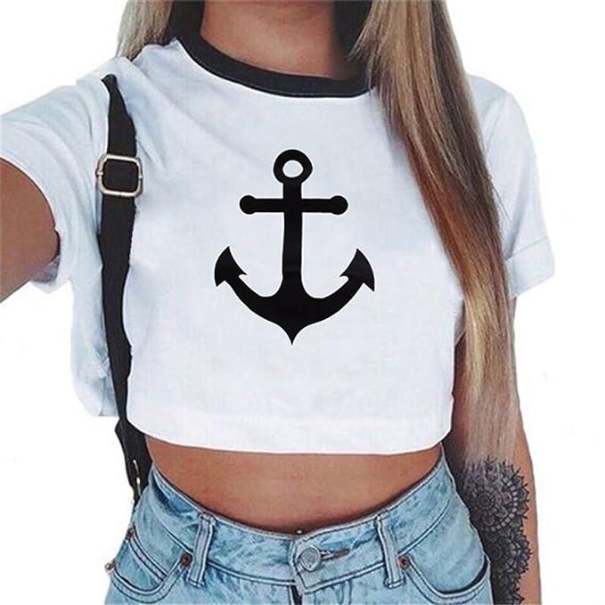 Camisetas Cortas Manga Corta Mujer Camiseta de Rayas Camisas de Mujer  Estampadas Camisetas de Tirantes Anchas 4b040aa1b4daa