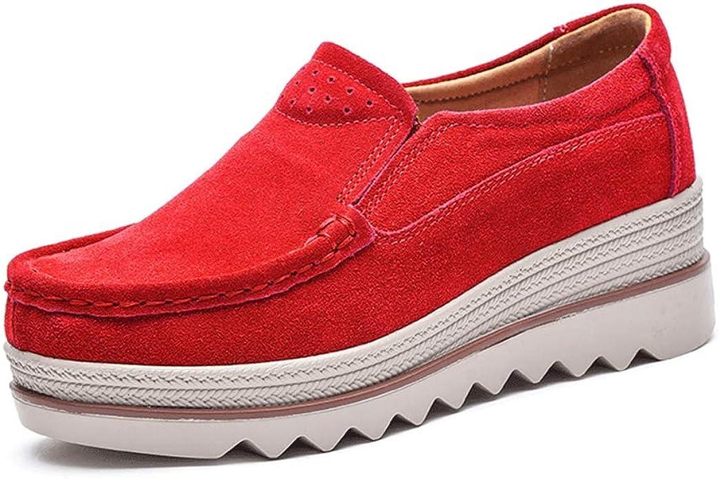 Mujer Mocasines Plataforma Casual Loafers Primavera Verano Zapatos de Cuña 5cm Negro Azul Caqui 35-42 Rojo 36