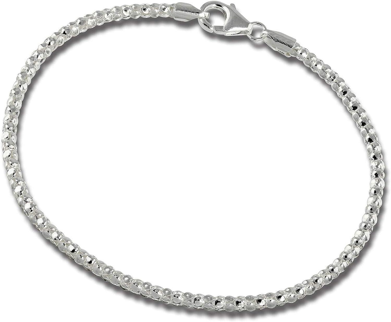 SilberDream SDA2178J- Pulsera de plata de ley 925, cadena de frambuesa para mujer, 18,5 cm