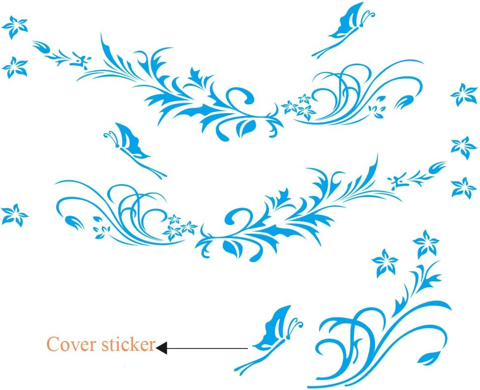 Black BININBOX Universal Both Sides Car Stickers Flower Vine Pattern Body Stickers Hood Decal 66.9 Inches