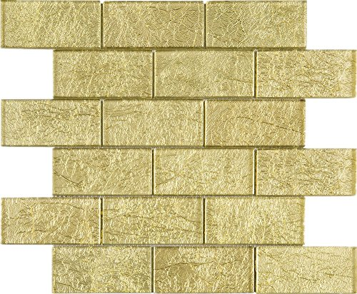 TGKG-01 Gold 2x4 Glass Mosaic Tile Sheet Subway Tile -Kitchen and Bath backsplash Wall ()