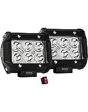 Par de Faros de LED diseño Cuadrado con 18W de Luz Concentrada de Alta Intensidad con 6 Leds tipo 3030 unico con laterales 100% de metal