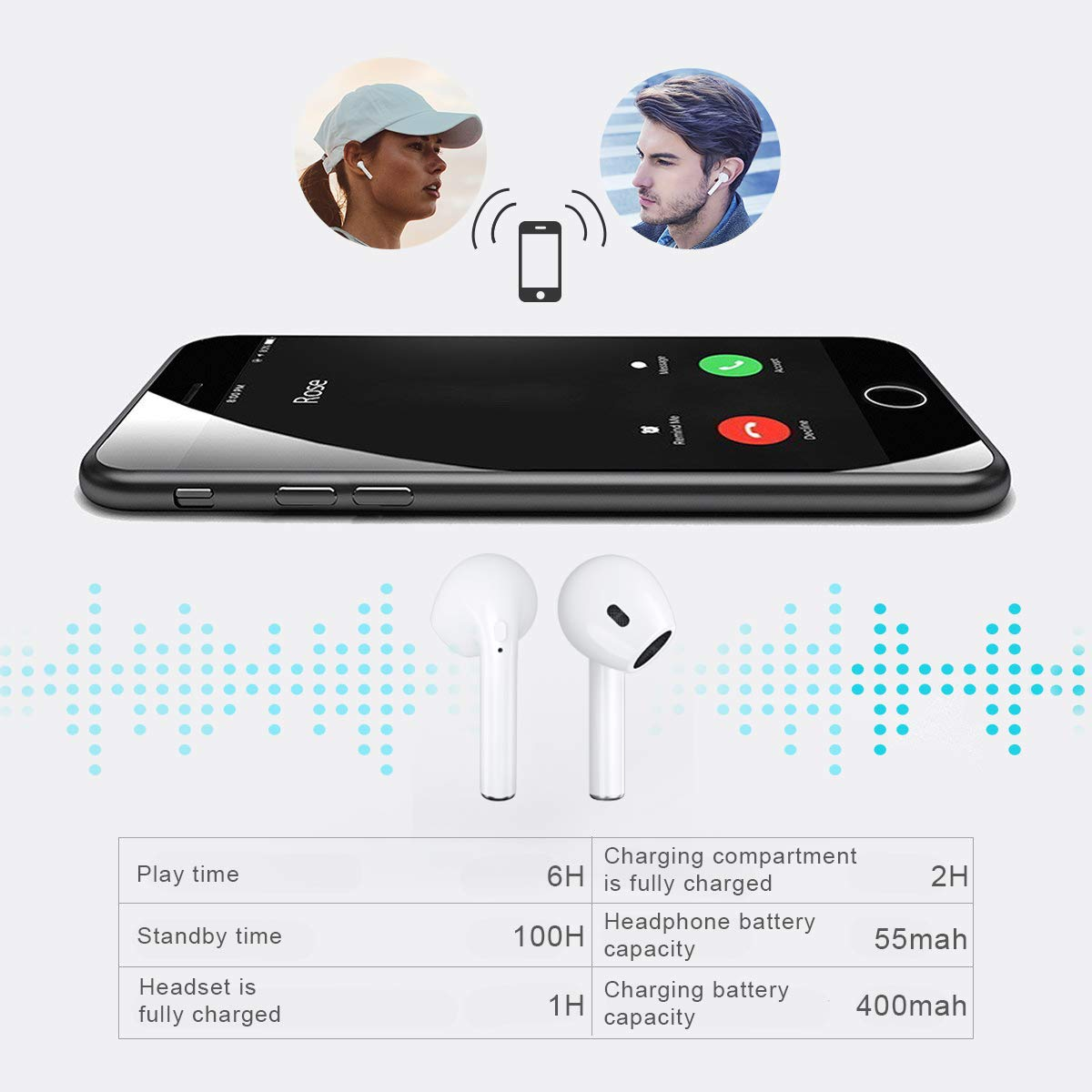 ZBC Wireless Earbuds I9 Bluetooth Earphones V5.0 Headphones in-Ear TWS Headsets Auto-Pair Airpods Mic Charging Case Sport Running Mini True Stereo Sound Noise Reduction Compatible iOS Android Samsung by ZBC (Image #7)