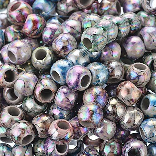 (500pcs 8mm Mixed Color Multicolor Round Acrylic Flower Big Hole Beads Round ball Loose Beads)