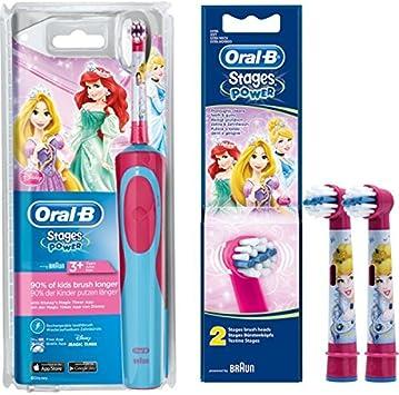 SPAR SET: 1 Braun Oral B Stages Power AdvancePower Kids 900TX elektrische Akku Zahnbuerste Kinder 3 J. (D12.513.K) Disney Prinzessin Cinderella und
