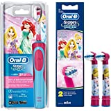 Braun Oral-B Stages Power AdvancePower Kids 900TX Brosse à dents électrique pour enfant à partir de 5 ans + lot de 2 brossettes Stages Power Motif princesses Disney