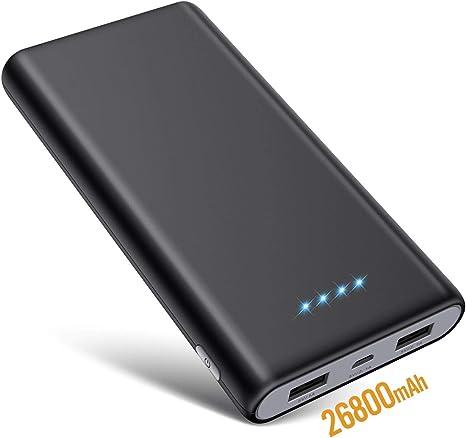 SWEYE Batería Externa 26800mAH Carga Rápida de Power Bank 2 USB ...