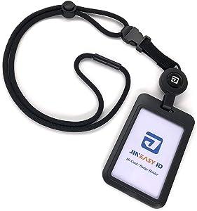Jineasy ID Hard Plastic Slide Open Id Card Holder with Heavy Duty Breakaway Lanyard and Retractable Badge Reel (Black)