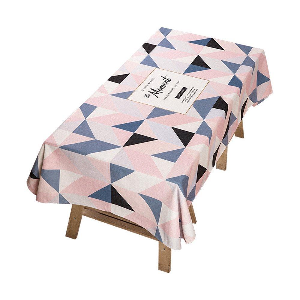 WERLM Tableau Moderne Minimaliste Tissus Tissu Coton Lin Petite Table Ronde fraîche rectangulaire en Tissu Rouge Net Girls 24 Grille de Lettres Triangulaire,140 * 200cm