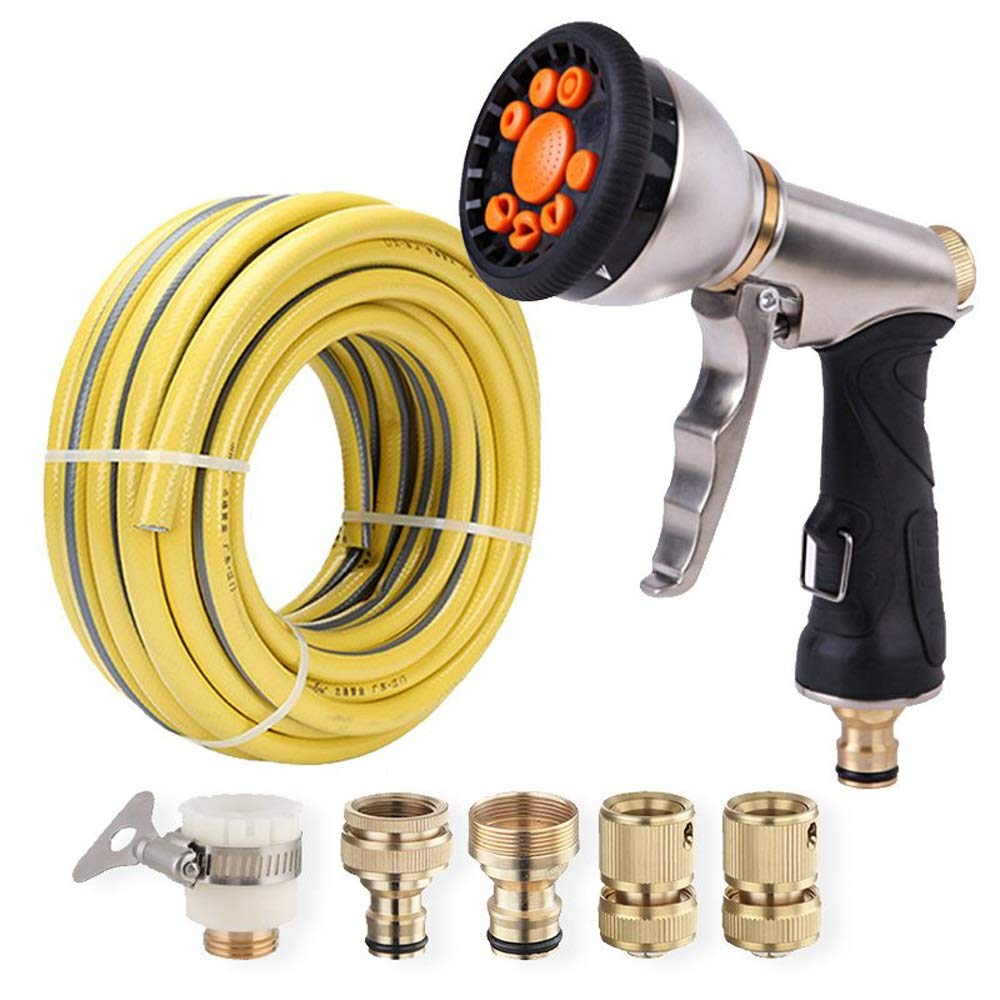 Multi-spray Spray Gun, High Pressure Metal Water Gun 9 Adjustable Mode Garden Hose Spray Guns, High Pressure Spray Nozzle For Car Wash, Cleaning, Watering Lawn And Garden ( Edition : 10 m water pipe )