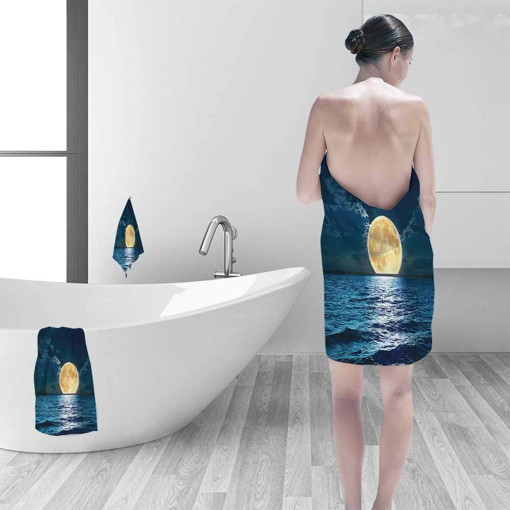 Quick Dry Bath towelMagical Super Moon Over Ocean Surface Midnight View Dreamy Mystic Picture Print Yellow Absorbent Ideal for Everyday use