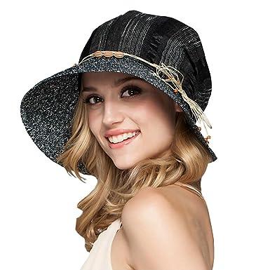 390e1514b78 Maitose Women s Wide Brim Foldable Sun Hat Black at Amazon Women s ...