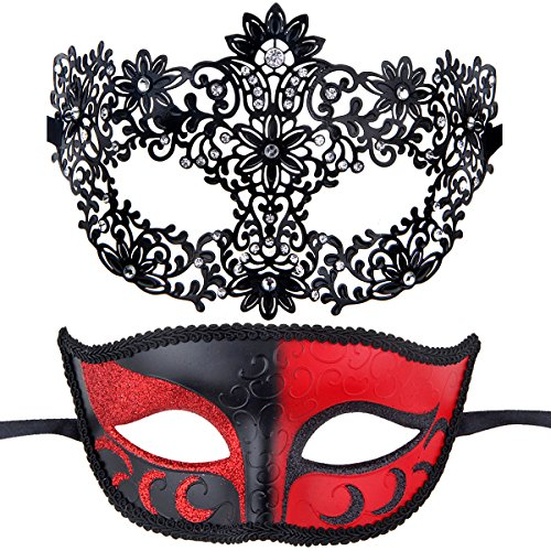 Couples Pair Half Venetian Masquerade Ball Masks Set Party Costume Accessory (red&black) (2)