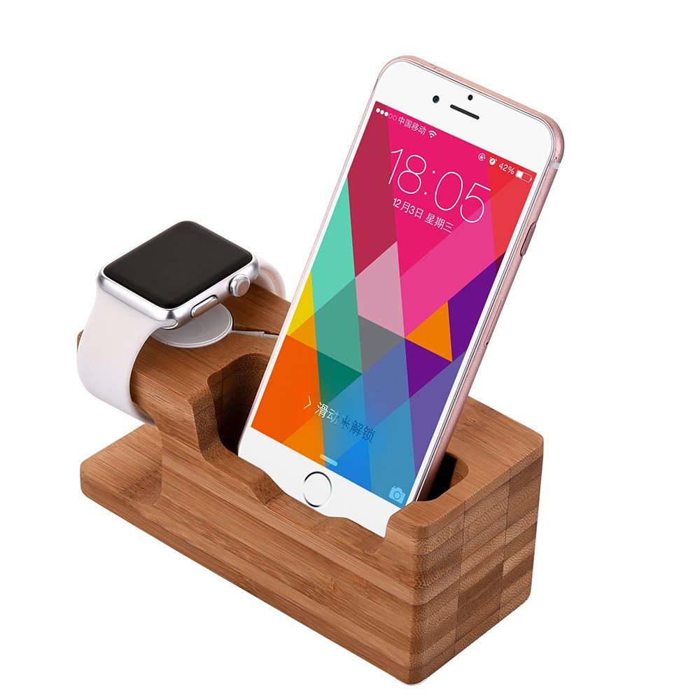 Apple watch stand aicase iwatch bamboo wood charging dock for Especificaciones iwatch