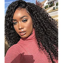 Unprocessed Natural Black Color Brazilian Virgin Human Hair Kinky Curly Full Lace Front Wig (lace front wig, 18inch hair length)