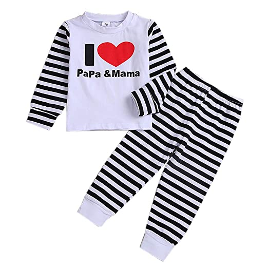 44ee6d3a2 Amazon.com  Toddler Kids Baby Girls Boys 2pcs Outfit Set Long Sleeve ...