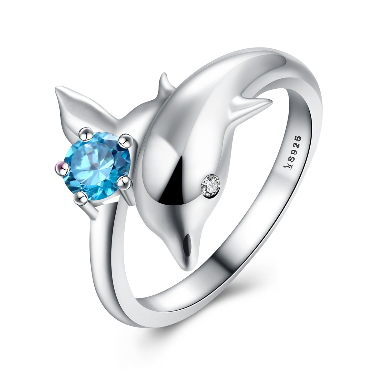 Everbling Dolphin's Love 925 Sterling Silver Ring, Blue CZ