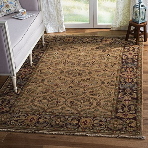 Safavieh Old World Collection OW119B Hand-Knotted Traditional Oriental Camel Wool Area Rug (5' x 8') - Hand Knotted Camel
