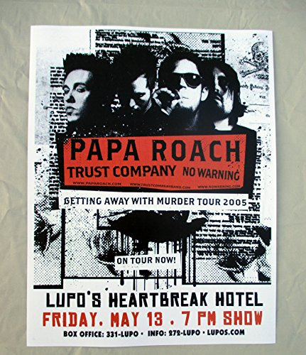 2005 Papa Roach Concert Poster Getting Away with Murder Tour