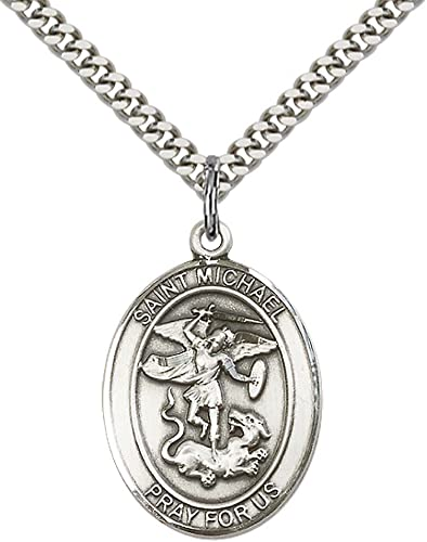 Patron Saint of Police Officers//EMTs F A Dumont Church Supplies Custom Engraved Sterling Silver St Michael The Archangel Pendant with 24 Stainless Steel Heavy Curb Chain