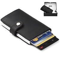 Dlife Credit Card Holder RFID Blocking Wallet Slim Wallet PU Leather Vintage Aluminum Business Card Holder Automatic Side Slide Trigger Card Case Wallet Security Travel Wallet