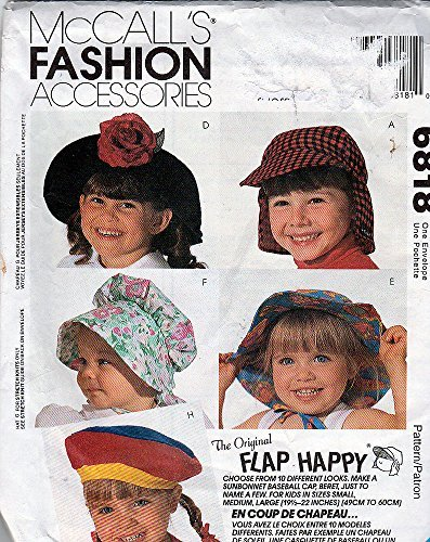 McCall's 6818 Sewing Pattern Flap Happy Hats Sun Bonnet Baseball Cap Beret S,m,l,