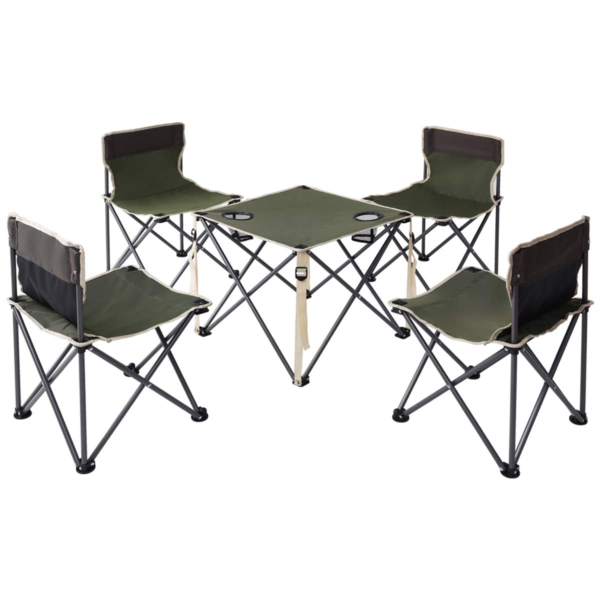 Giantex Portable Folding Camping Table Chairs Set Outdoor Patio Camp Beach Picnic with Cup Holder & Carrying Bag (Green)