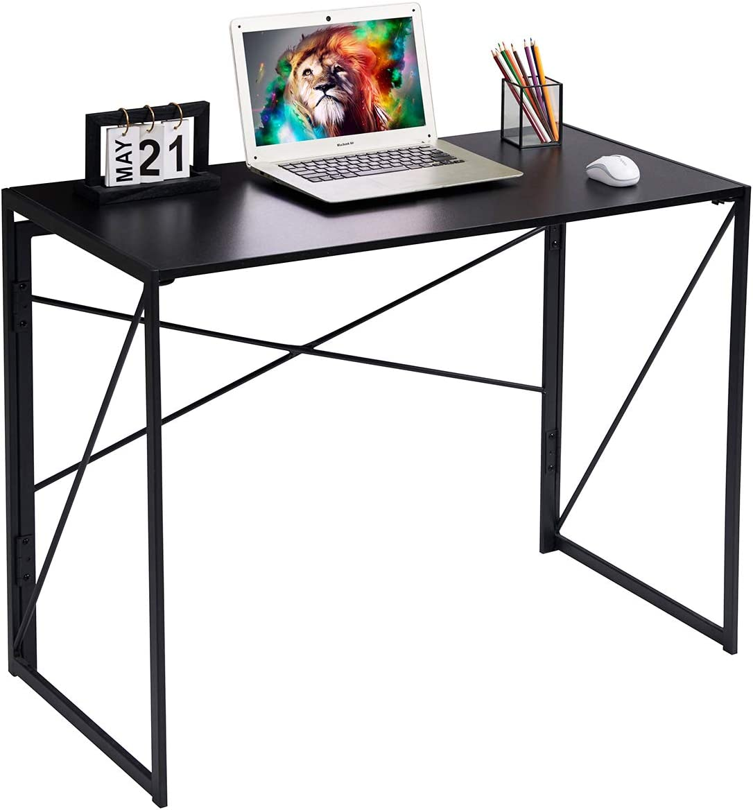 Writing Computer Desk Modern Simple Study Desk Industrial Style Folding Laptop Table for Home Office Notebook Desk Black