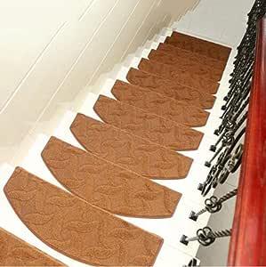 KY&CL Manta Antideslizante de Escalera, escaleras de Escalera de pisadas no Slip Juego Interior de 1 alfombras de Escalera Cubre Alfombrillas, (75 * 24cm),B,75 * 24 * 3cm: Amazon.es: Hogar