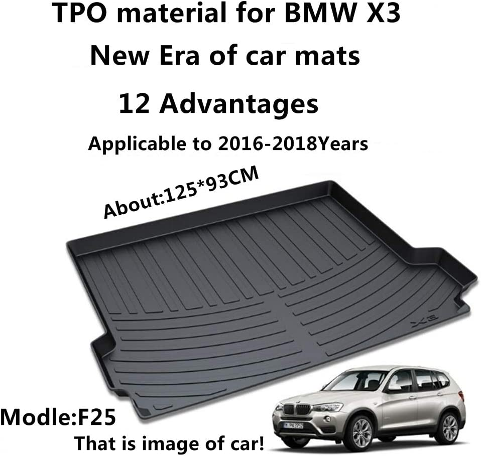 Black Trunk Cargo Floor Mat for BMW X3 F25 2011-2017 Cargo Pad Floor Tray Liner