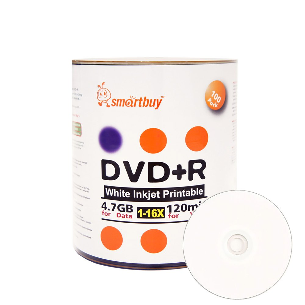 Smartbuy 100-disc 4.7gb/120min 16x DVD+R White Inkjet Hub Printable Blank Data Recordable Media Disc