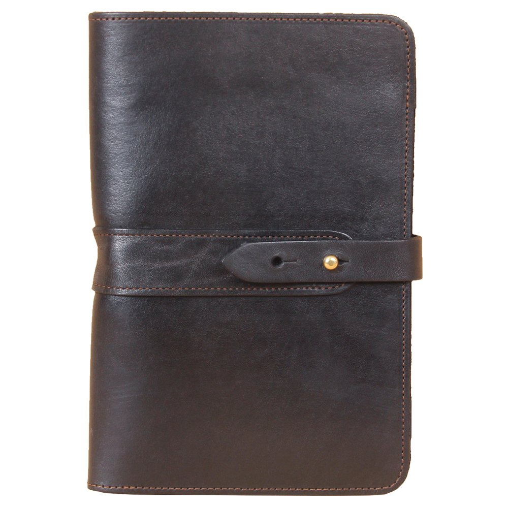 Travel Leather Portfolio Folio Notebook Business Folder Small Black Full-Grain USA Made No. 20