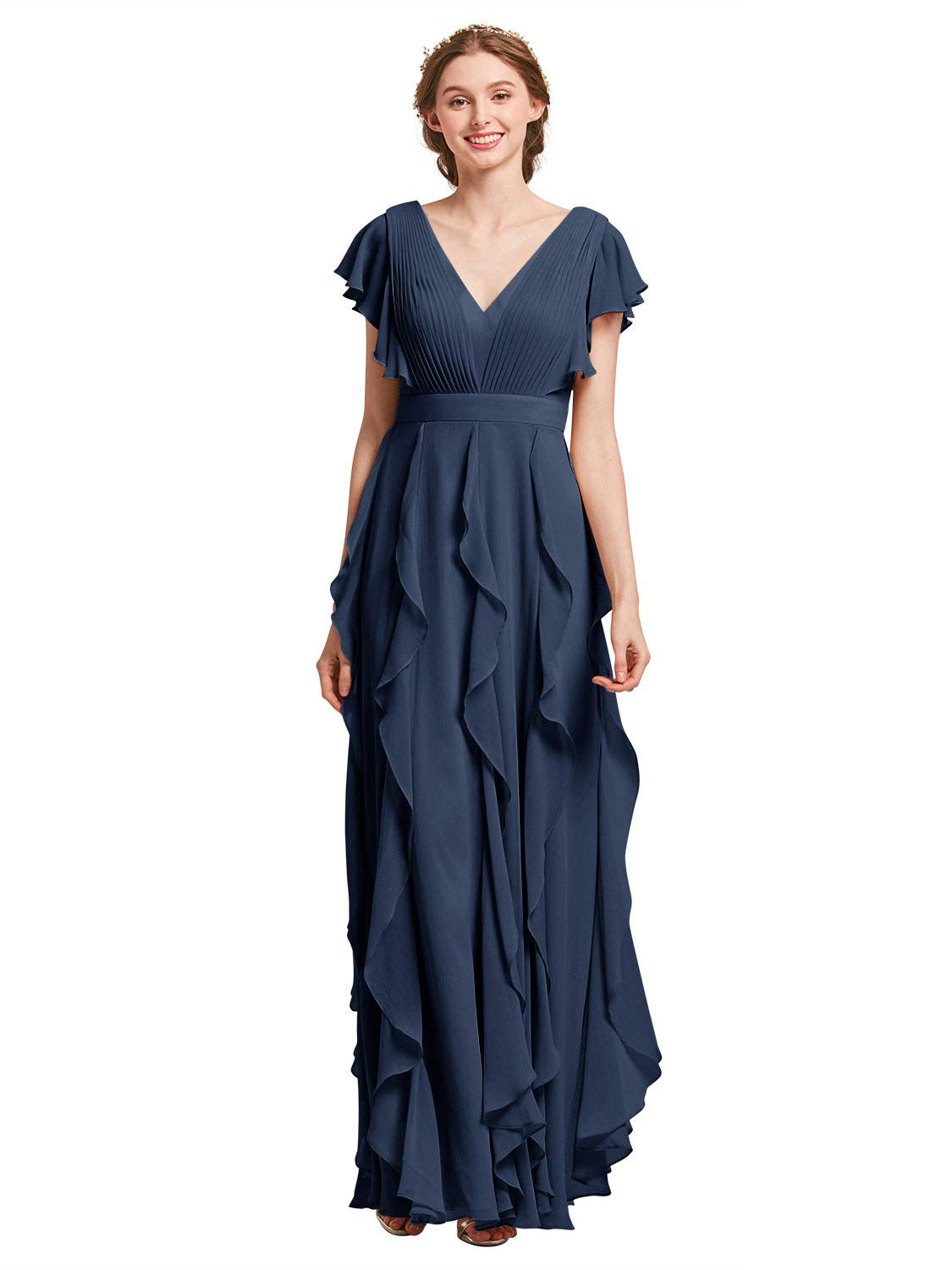 AW Bridal Plus Size Bridesmaid Dresses for Women Formal Dresses with  Sleeves Chiffon Long Gowns and Evening Dresses, Navy, US18