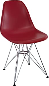 Modway Paris Mid-Century Modern Molded Plastic Dining Chair with Steel Metal Base in Red, One