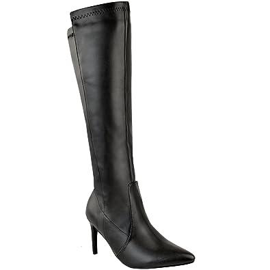 cd6f2ecf1b6f1 Damen Stretch-Stiefel mit Mittelhohem Stiletto-Absatz - Schwarzes  Kunstleder - EUR 40