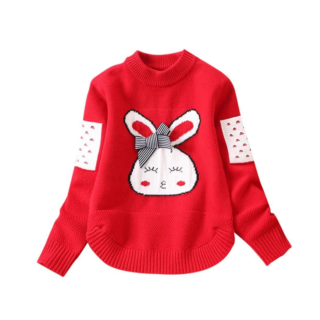 xzbailisha Baby Girls Sweater Cartoon Rabbit Bow Round Neck Long Sleeve Sweater JH_XZZ_TZ244