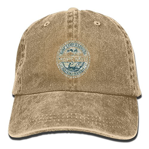 FuNanLiXIuDong Pacific Waves Surf Camp and School Hawaii Logo Motif With Artsy Effects Easy Adjustable Men Cotton Denim Funny Cowboy Stetson Hat Low Profile Natural (Camp Surf Waves)