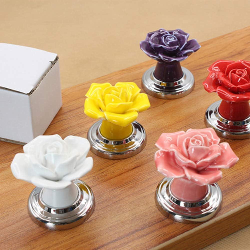 FairytaleMM Nouvelle Mode Rose Fleur Alliage Joint C/éramique Armoire 1009 Poign/ées Pour Poign/ées De Porte Avec Poign/ées /À Vis Argent-Rose