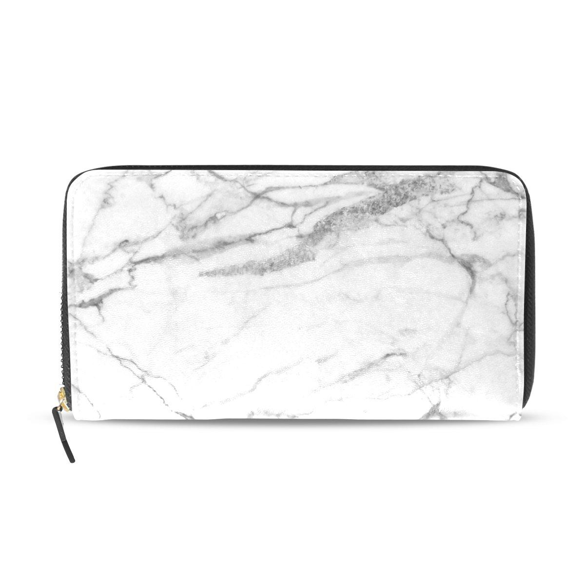 Womens Zipper Wallet Marble Pattern Clutch Purse Card Holder Bag