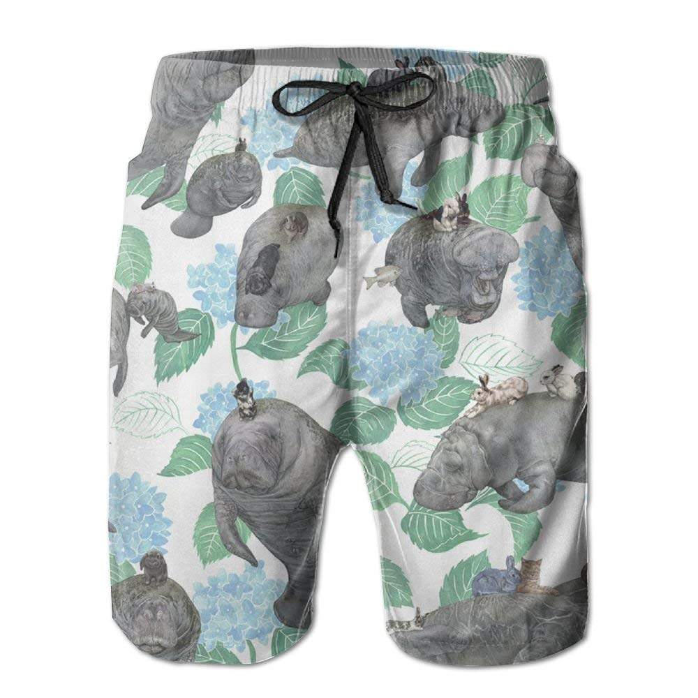 Rabbits Rode On The Manatees Mens Summer Boardshorts Outdoor Water Sports Shorts Quick Dry Casual Beach Shorts
