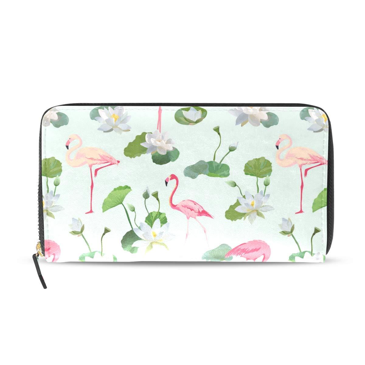 Flamingo Wallets For Men Women Long Leather Checkbook Card Holder Purse Zipper Buckle Elegant Clutch Ladies Coin Purse