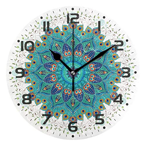 Naanle Oriental Round Mandala Floral Paisley Peacock Feather Round/Square/Diamond Acrylic Wall Clock Oil Painting Home Office School Decorative Creative Dual Use Clock Art (Clocks With Paintings)