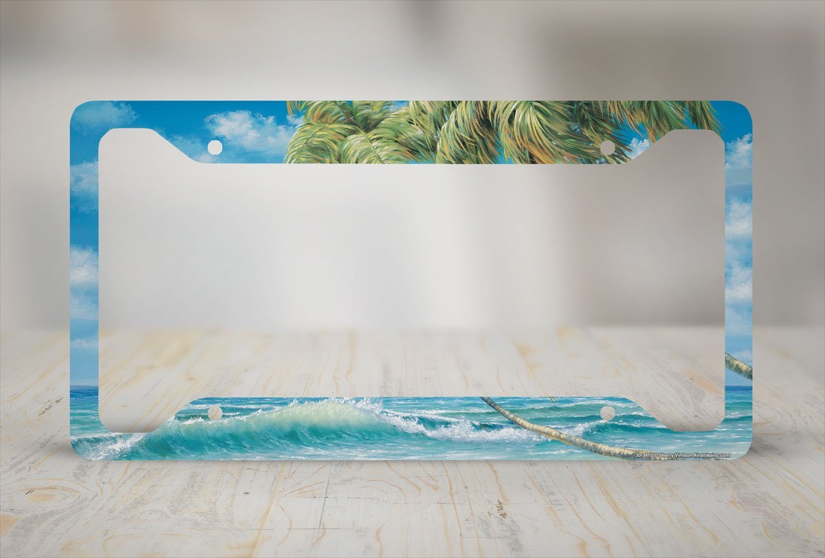 Ocean Palm Trees Waves License Plate Frame-30-3410 Airstrike Beach License Plate Frame Surf Car Tag Frame Beach License Plate Holder