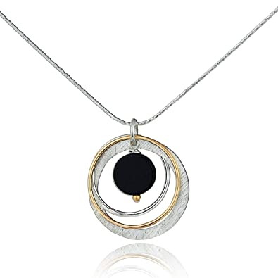 b4d18a820 Two Tone Black Onyx Multi Hoops Necklace 925 Sterling Silver & 14k  Gold-Filled Pendant