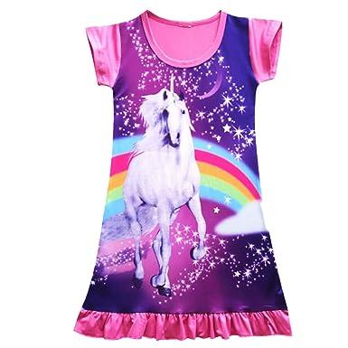 HDE Girls Sleep Shirt Dress Short Sleeve Pajamas Unicorn Nightgown Nightshirt